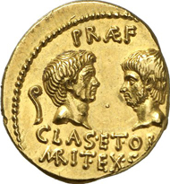No. 546. SEXTUS POMPEIUS MAGNUS PIUS (Roman Republic). Aureus, Sicily. Head of Sextus Pompeius. Rev. Head of his father, Gnaeus Pompeius, across from him, the head of his brother. Cr. 511/1. Very rare. Ex Naville, Lucerne 18.-20.6.1925, 174 (Slg. H. C. Levis). Extremely fine to FDC. Estimate: 40,000 EUR. Final Price: 161,000 EUR.