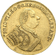 No. 3246: BRANDENBURG / PRUSSIA. Frederick Wilhelm I, 1713-1740. 5 ducats 1721, Berlin. To the homage in Stettin. Fr. 2352. Extremely rare. Extremely fine. Estimate: 20,000 EUR. Final Price: 29,900 EUR.