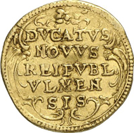 No. 3555: ULM. Ducat, undated (1647). Fr. cf. 3480. Extreme rare. Very fine. Estimate: 15,000 EUR. Final Price: 27,600 EUR.