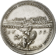 No. 4185: POLAND. Frederick August I of Saxony (Augustus II), 1697-1733. Medal 1699 by M. H. Omeis of the capture of the fortress of Kamieniec-Podolsk. Hutten-Cz. 2614. Very rare. Nearly extremely fine. Estimate: 4,000 EUR. Final Price: 8,050 EUR.