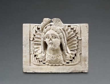 Baurelief aus dem nabatäischen Tempel von Khirbet et-Tannur: Büste einer