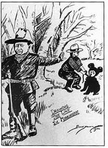 Cartoon vom 16. November 1902 von Clifford Berryman. Quelle: Wikipedia.