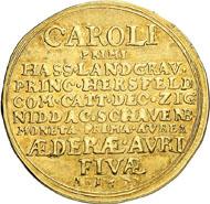 Nr. 7589: HESSEN-KASSEL. Karl (1670-1730). 2 Goldgulden 1677 (Edergold). Fb. 1271 (