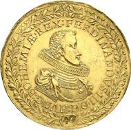 Nr. 8051: RDR. Ferdinand III., 1625-1637-1657. 40 Dukaten 1629, Prag. Dietiker -. Doneb. - (vgl. 2353, dort in Silber). Fb. 45 (