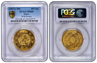 Diese japanische 10-Yen-Münze von 1871, PCGS Secure Plus' MS65, ist die 25-millionste Münze, die von Professional Coin Grading Service zertifiziert wurde, und stellt damit einen Meilenstein für das Unternehmen dar.