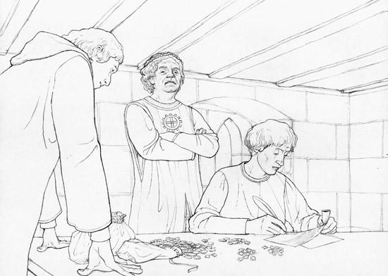 Oktober 1371. Konrad Biberli, der während einer Zwangsversteigerung die Vogteien des Eberhard Brun gekauft hat, unterhält sich mit dem Reichsvogt Gottfried Mülner. Gezeichnet von Dani Pelagatti / Atelier bunterhund. Copyright MoneyMuseum / Zürich.