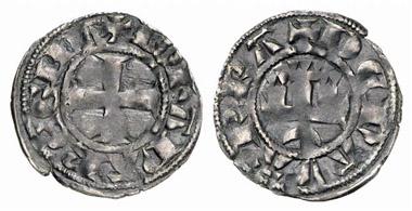 Jeanne I., 1274-1305. Denier. Aus Auktion Künker 152 (2009), 5192.