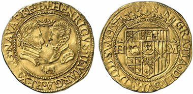 Henry II and his wife Margarete of Navarre. Double ducat of Henry VI from 1577 in honour of his grandparents. From Künker auction 218 (2012), 5149. Photo: KW.
