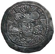 Kidariten. König Peroz (4./5. Jh. n. Chr.), Drachme (Silber). Münzstätte in Gandhara. Bernisches Historisches Museum.