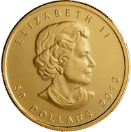 The new Gold Maple Leaf Bullion coin with new visual security features.