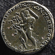 Hercules and the Lernaean Hydra. Revers of a bronze coin, Nicopolis ad Istrum, Macrinus (217-218 CE). KIKPE Collection.