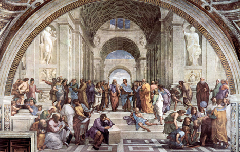 The School of Athens, fresco by Raffaello Sanzio (1511). Socrates is the man in the second line wearing brown clothes and making gestures. Source: Wikipedia.