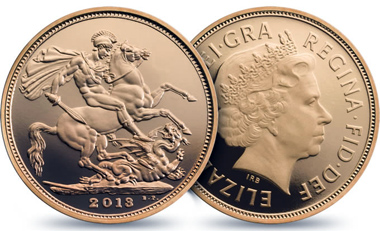 The 2013 Sovereign: Great Britain / .9167 gold / 7.98 g / 22.05 mm / Design: Ian Rank-Broadley FRBS (obverse), Benedetto Pistrucci (reverse) / Mintage: 10,295.