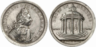 Frederick II. Silver medal from 1703 by J. C. Koch to commemorate the duke's virtues: equity, piety, charisma, wisdom, moderation, bravery and benevolence. From Künker auction 211 (2012), 3478.