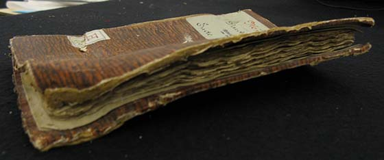 The remains of a Cologne Münzwardein book from the 15th century.