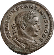 Konstantin d. Große, Follis, Billon, Frühjahr 307, Treveri (Trier), 9,05 g. © Nicolai Kästner.