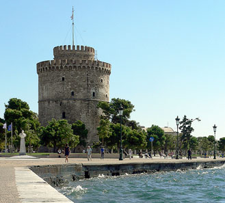 The White Tower, part of the Byzantine fortifications. Photo: Zweifüssler / Wikipedia. http://creativecommons.org/licenses/by/2.0/deed.en