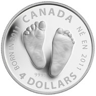 One of the awarded sets comprises this silver baby gift coin.