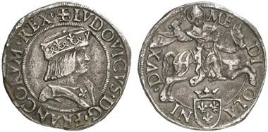 Louis XII as Ludovico XII of Orléans, Duke of Milan, 1500-1512. Testone undated, Crippa 3/A. From Künker auction 183 (2011) 1799.