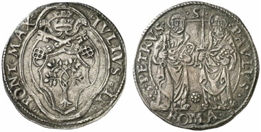 Julius II, Pope 1503-1513. Giulio undated, Rome. From Künker auction 217 (2012), 2645.