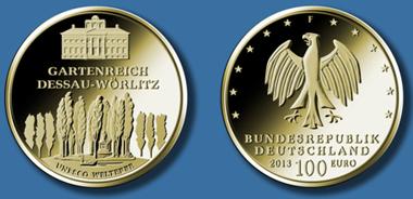 Die neue 100-Euro-Goldmünze in der Serie UNESCO-Welterbe-Serie der Bundesrepublik Deutschland. © Bundesministerium der Finanzen.