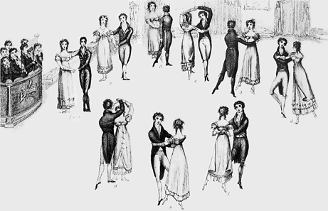 Detail from frontispiece to Thomas Wilson's Correct Method of German and French Waltzing (1816), showing nine positions of the Waltz, clockwise from the left (the musicians are at far left). At that time, the Waltz was a relatively new dance in England, and the fact that it was a couples dance (as opposed to the traditional group dances), and that the gentleman actually clasped his arm around the lady's waist, gave it a dubious moral status in the eyes of some. Source: Wikipedia.