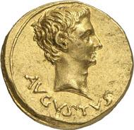 321: Augustus, 27 BC-14 AD. Aureus, 19-18, Pergamum. RIC cf. 82, 511var. Calicó 157 (same dies). Rare. Extremely fine. Estimate: 75,000 CHF. Hammer price: 240,000 CHF.