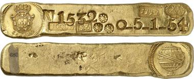 965: Brasilien. Maria I., 1786-1805. Goldbarren 1792, Sabara. Gomes 30.01. Ein exzeptionelles Exemplar. Vorzüglich. Schätzung: 150.000 CHF. Zuschlag: 280.000 CHF.