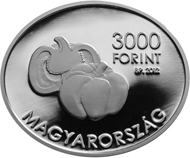 Hungary / 3,000 Forint / 925 silver / 12.5 g / 30 x 25 mm / Design: Fanni Vekony / Mintage: 2,000 (BU), 5,000 (Proof).