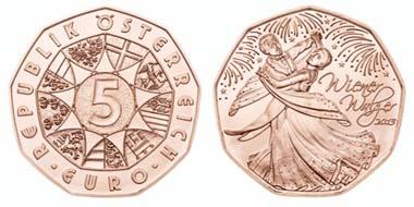Das ist die Neujahrsmünze 2013: Wiener Walzer, ebenfalls wieder in Kupfer geprägt.