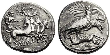 31: Acragas (Sicily). Tetradrachm, c.409-406. BMC 57. SNG Lloyd 818 (= Pozzi Coll. 388). Rare. Nearly extremely fine. Starting price: 3,600 euros. Hammer price: 13,000 euros.