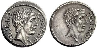 396: Q. Pomponius Rufus. Denarius, 54. Rv. Portrait of the dictator Sulla. Cr. 434/1. Extremely fine. Starting price: 600 euros. Hammer price: 5,200 euros.