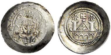 1032: Gorizia (Tyrol and Northern Italy). Engelbert III, 1187-1220, and Meinhard II, 1187-1232. Denarius, Lienz. Rizzolli, CNTM/LI2 (L2). Extremely fine. Starting price: 3,000 euros. Hammer price: 8,000 euros.