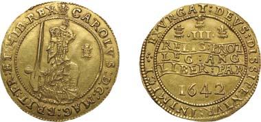 1016. Charles I, 1625-1649, Gold Triple Unite, 1642. Realized: $87,750.