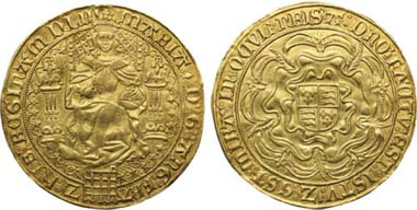 1007. Mary I, 1553-1554, Gold Fine Sovereign, 1553. Realized: $84,240.
