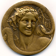 Henri Dropsy, Eve et le Serpent, c1920. Bronze.