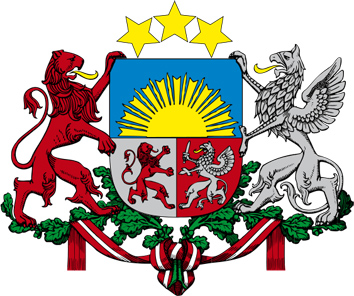 Large coat of arms of the Republic of Latvia designed by Rihards Zarins. Source. Wikipedia.