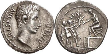 Augustus. Denarius, Lugdunum, 15 B. C. RIC 165a. From auction Gorny & Mosch 170 (2008), 1916.