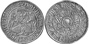 Zurich guldiner (so-called chalice thaler) 1526. Mint master Niklaus Sitkust (1526-1533). From auction LHS 95 (2005), 337.