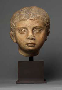 Roman marble portraithead of a young boy, Antonine, 138-193 AD. Height: 7.25 inches. Price: $90,000.