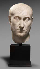 Roman marble portrait head, mid 3rd century AD. Height: 9.5 inches. Price: $200,000.