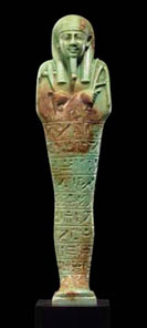 Egyptian faience ushabti, Late Dynastic Period. Height: 10.25 inches. Price: $175,000.