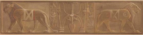 Howard Carter (1874-1939), Watercolour study of the throne of Queen Neith. Framed dimensions: 16 x 34.5 inches. Price: $44,000.