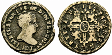 Isabella II. 8 Maravedis, Pamplona. From Cayon, September 16, 2011, 4608.