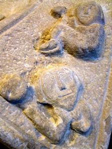 Pre-Romanesque tombstone in the Museo de Navarra. Photo: KW.