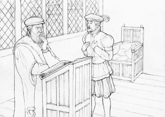 Late summer 1568. A clerk of the chancellery in Innsbruck informs Hans Vogler the Younger about the amount of money Emperor Maximilian II owes him for constructing his rolling mill. Drawn by Dani Pelagatti / Atelier bunterhund. Copyright MoneyMuseum Zurich.
