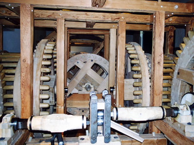 Reconstruction of a rolling mill, constructed by Werner Nuding, on display in the Hall Mint Museum in Hasegg Castle.