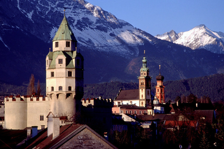Hall in Tyrol, Mint Tower in the foreground. Photograph: Herbert Ortner / Wikipedia.