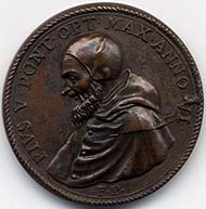 Pius V, 1566-1572. Bronze medal to the victory of Lepanto.