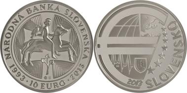 Slovakia / 10 euros / .900 silver / 34mm / 18g / Design: Kliment Mitura (obverse), Roman Lugár (reverse) / Mintage: 9,150 (proof), 4.100 (BU).